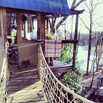 The tree house which is built 30 feet in the air attached to the main house overlooking Lake Hartwell